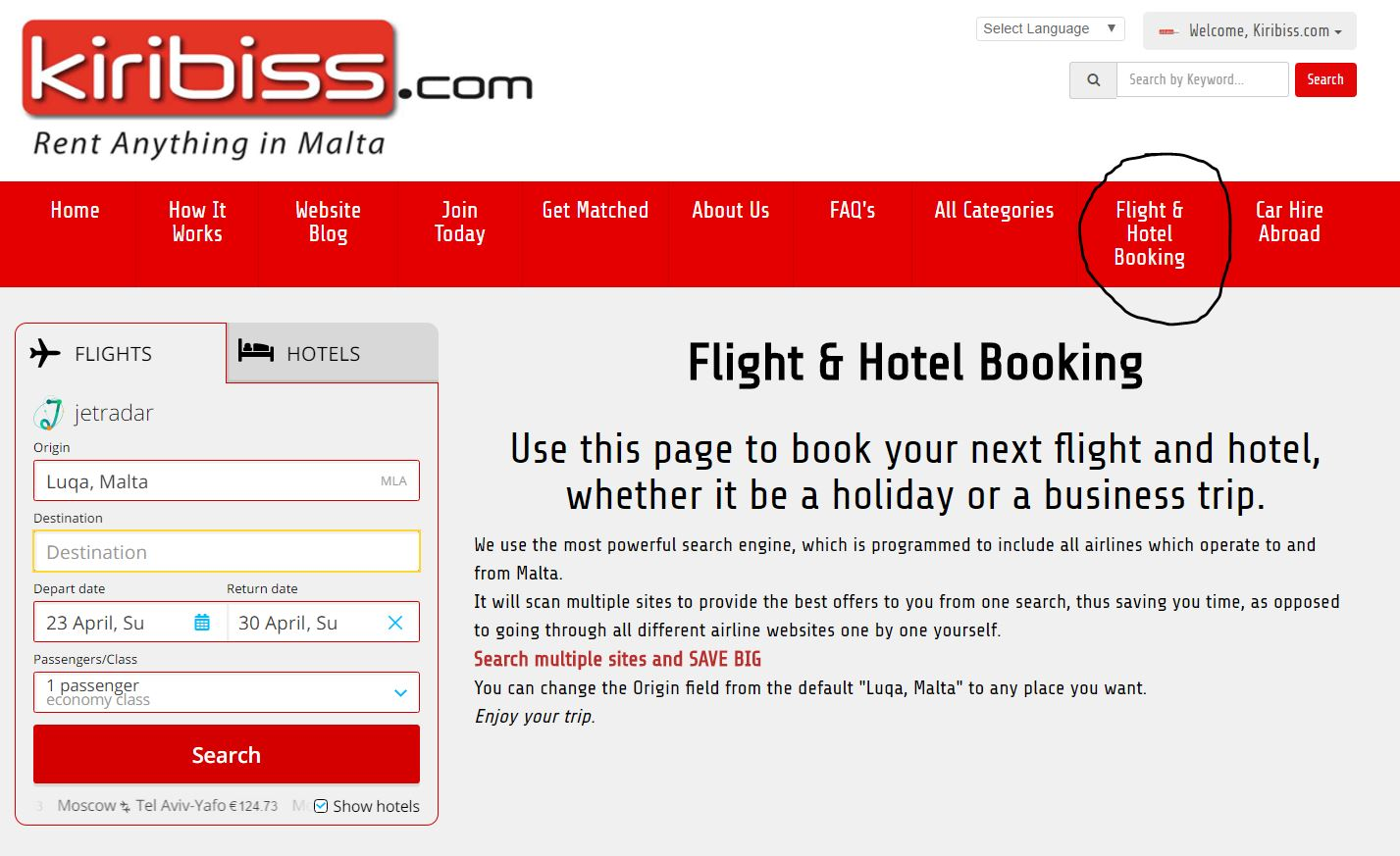 Flight hotel booking search now on kiribiss malta for Booking hotel